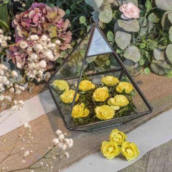 12 Roses jaune sur tige 3.5cm