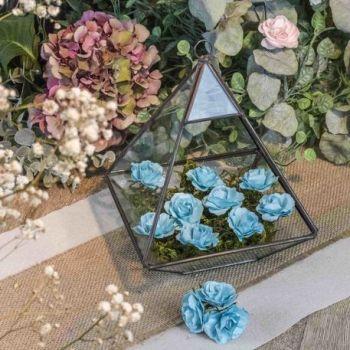 12 Roses turquoise sur tige 3.5cm