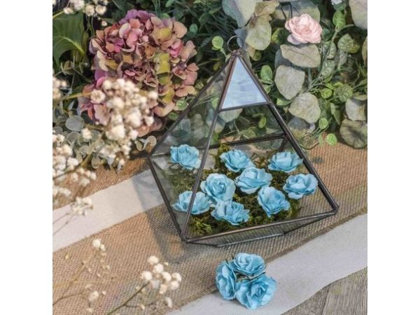 12 Roses turquoise sur tige 3.5cm - Thema Deco.fr