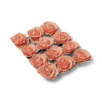 12 Roses pêche sur tige 3.5cm