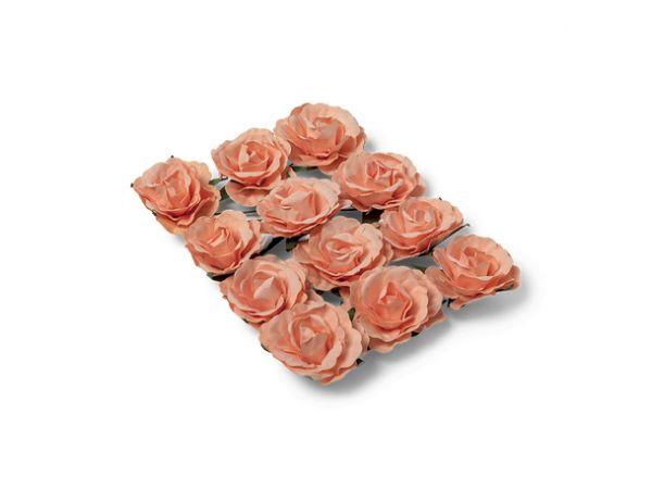 12 Roses pêche sur tige 3.5cm - Thema Deco.fr