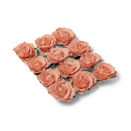 Ces superbes petites roses en papier de couleur pêche sont idéales à travailler. Grâce à leurs tiges laitonnées vous les enroulerez...