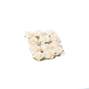12 Roses ivoire sur tige 3.5cm