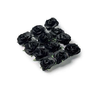12 Roses noires sur tige 3.5cm