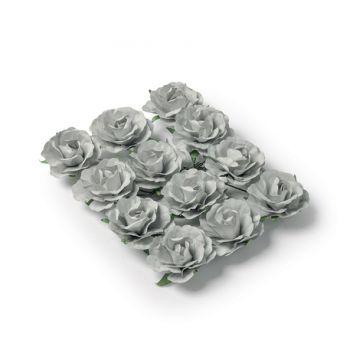 12 Roses grises sur tige 3.5cm