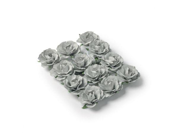 12 Roses grises sur tige 3.5cm - Thema Deco.fr