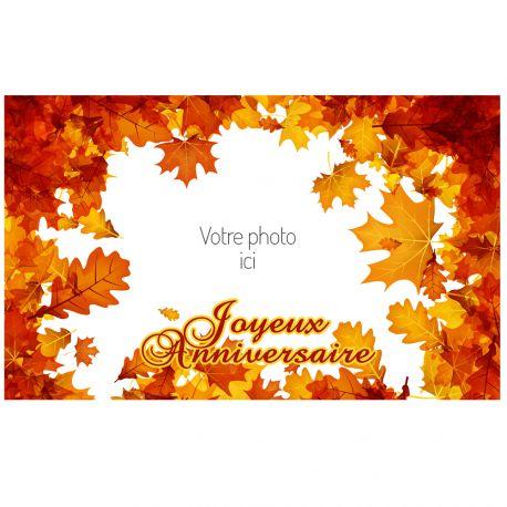 Feuille de sucre automne à personnaliser avec vos photos personnels pour décorer vos gâteaux d'anniversaires.Taille A3 USA ( 25.8 cm...
