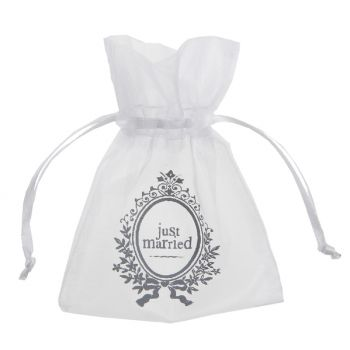10 Sachets organdi Just Married blanc