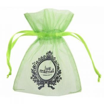 10 Sachets organdi Just Married vert