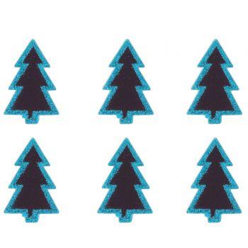 4 Mini pinces ardoise sapins bleu