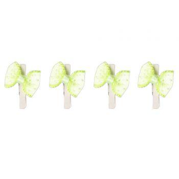 8 Mini pinces noeuds vert anis à pois