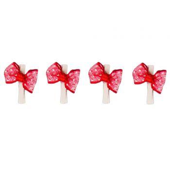 8 Mini pinces noeuds rouge à pois