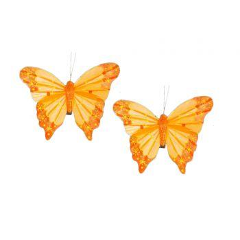 2 papillons plumes sur pince orange