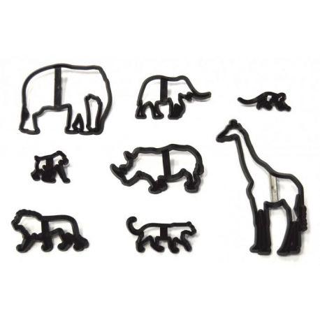 Kit 8 emporte pièces animaux de la jungle pour faire vos décorations de gâteaux en pâte à sucre. Contient:girafe, éléphant (2x), lion...