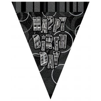 Fanions Happy Birthday Black/White