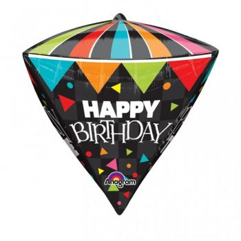 Ballon Happy Birthday diamant