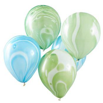 10 Ballons marbrés vert et bleu