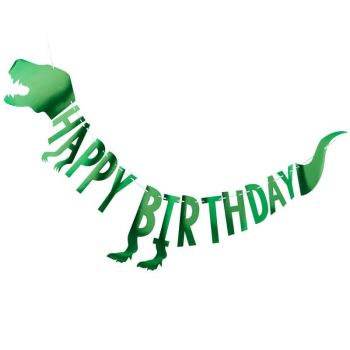 Guirlande alu Happy birthday dinosaure