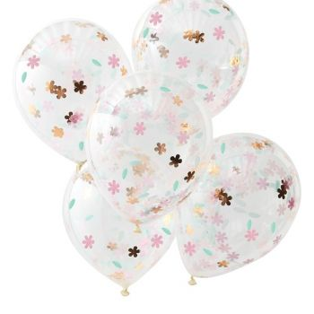 5 Ballons confettis floral