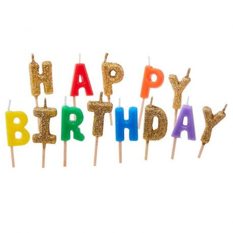 Assortiment de bougies pics représentant le mot HAPPY BIRTHDAY de couleur arc en ciel et pailleté or idéal pour une superbe décoration...