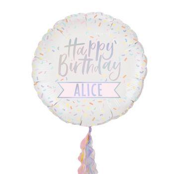 Ballons hellium Arc en ciel pastel à personnaliser
