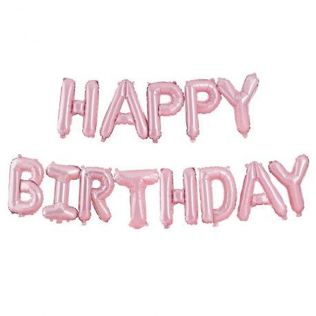 Guirlande de ballons lettres en aluminium représentant Happy Birthday de couleur rose pastel idéal pour une superbe décoration de fête...