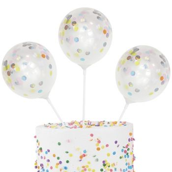 5 Mini ballons confettis pastel