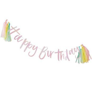 Banderole Happy birthday Arc en ciel pastel