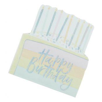 16 Serviettes gâteau pastel party