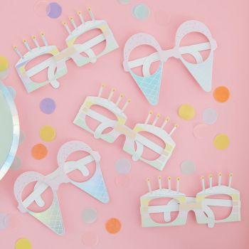 8 Lunettes en carton pastel party