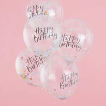 5 Ballons confettis pastel party