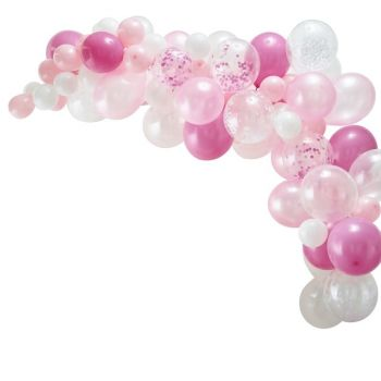 Kit arche de 70 ballons rose
