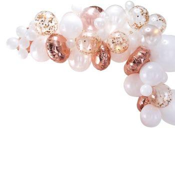 Kit arche de 70 ballons gold rose