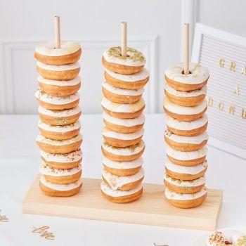 Présentoir à donuts vertical en bois