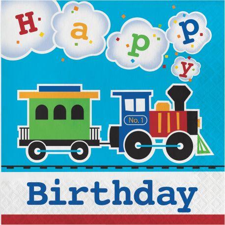 16 Serviettes en papier pour une belle décoration de table d'anniversaire sur le thème des trains Taille: 15cm x 15cm