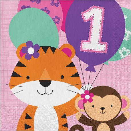 16 serviettes en papier pour une belle décoration de table d'anniversaire sur le thème des animaux de la savane rose Taille: 15cm x 15cm