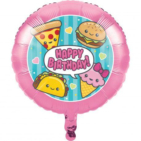 Ballon hélium pour une belle décoration de fête d'anniversaire ultra tendance et kawaii avec ce décor junk food fun Taille: 45cm Vous...