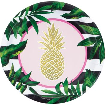 8 Assiettes gold ananas