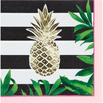 16 Serviettes gold ananas