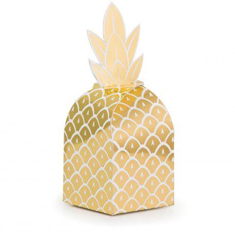 8 boites en carton en forme d'ananas en dorure métallisé pour une belle décoration de table d'anniversaire tendance, tropicale et...