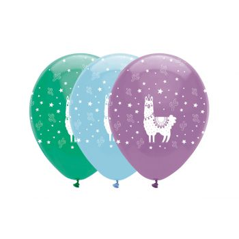 6 Ballons latex lama party