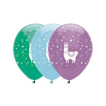 6 Ballons latex lama party