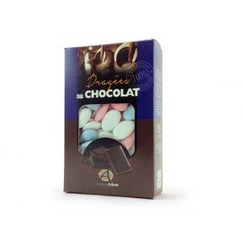 Dragées chocolat pastel mat blanc bleu et rose 500gr