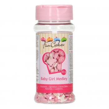 Confettis en sucre Funcakes bébé fille 50gr