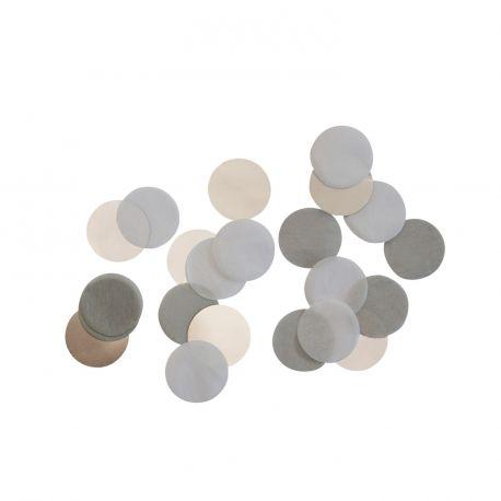 Confettis en papier ton gris argentés pour une belle décoration de table d'anniversaire 15gr