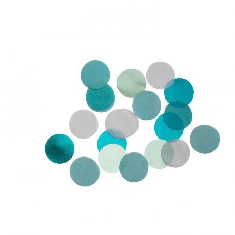 Confettis en papier ton turquoise pour une belle décoration de table d'anniversaire 15gr