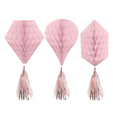 Assortiment de 3 suspensions en papier nid d'abeille rose avec pompons gold rose métallisé pour une belle décoration de fête Taille: 30cm