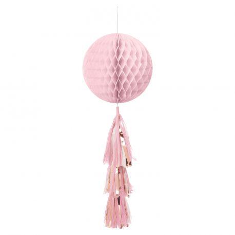 Suspension boule en papier nid d'abeille rose avec pompons gold rose métallisé pour une belle décoration de fête Taille: 71cm