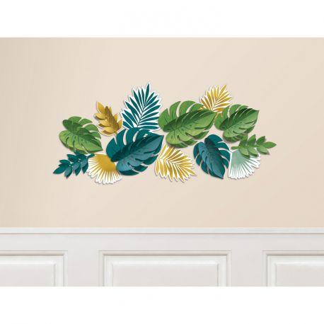 Kit permettant de réaliser une belle décoration mural de feuilles or et verte en reliefContient un assortiment de 13 feuilles