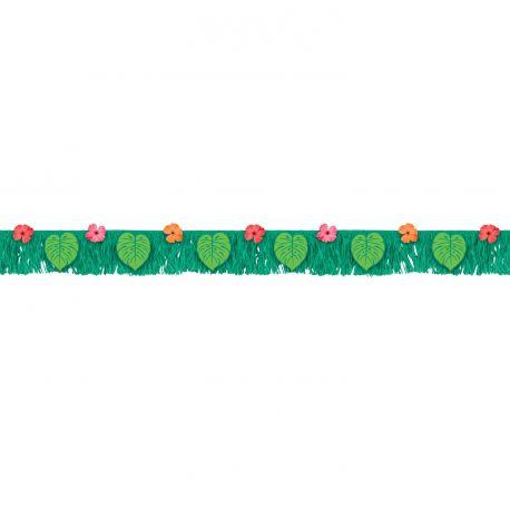 Superbe guirlande en papier décoré avec feuilles et fleur pour une belle décoration de fête tropicale et estivale Dimensions : 178cm